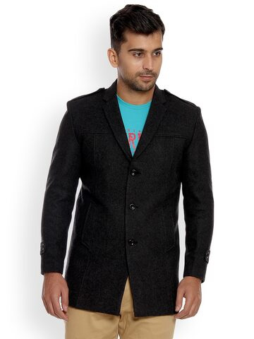 Duke Men Charcoal Solid Tailored Jacket Duke Jackets at myntra