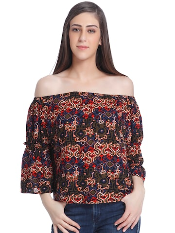 ONLY Women Multicoloured Printed Bardot Top ONLY Tops at myntra
