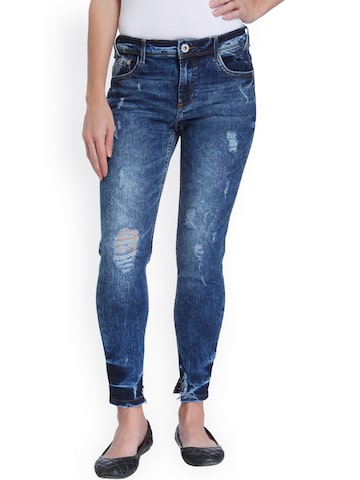 ONLY Women Blue Regular Fit Mid-Rise Mildly Distressed Stretchable Jeans ONLY Jeans at myntra