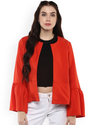 Harpa Women Red Solid Open Front Jacket Harpa Jackets at myntra