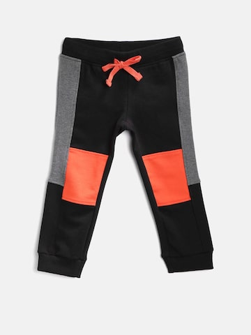United Colors of Benetton Boys Black & Orange Colourblocked Joggers United Colors of Benetton Track Pants at myntra