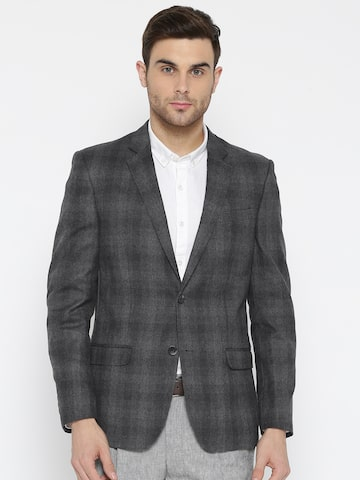 Arrow Grey Melange Single-Breasted Checked Casual Blazer Arrow Blazers at myntra