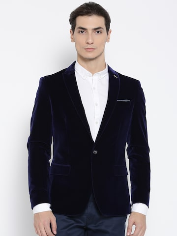 Arrow New York Navy Single-Breasted Zero Calorie Fit Corduroy Blazer Arrow New York Blazers at myntra