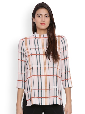 Avirate Women Pink & Blue Checked Top Avirate Tops at myntra