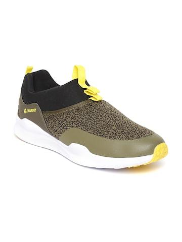 Duke Men Olive Green & Black Patterned Running Shoes Duke Sports Shoes at myntra