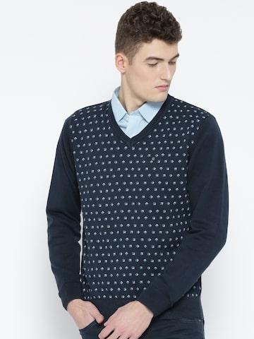 Blackberrys Men Navy Blue Printed Sweater Blackberrys Sweaters at myntra