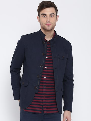 Blackberrys Men Navy Blue Solid Tailored Jacket Blackberrys Jackets at myntra