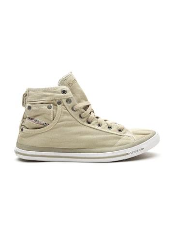 DIESEL Men Olive Green Solid Canvas Mid-Top Sneakers DIESEL Casual Shoes at myntra