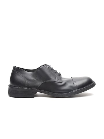DIESEL Men Black Leather Derbys DIESEL Casual Shoes at myntra