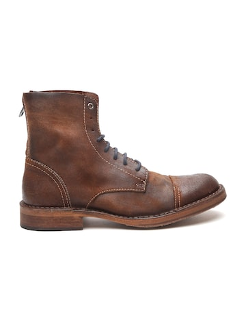 DIESEL Men Brown Solid Leather Flat Boots DIESEL Casual Shoes at myntra