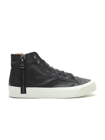 DIESEL Men Black Solid Leather Mid-Top Sneakers DIESEL Casual Shoes at myntra