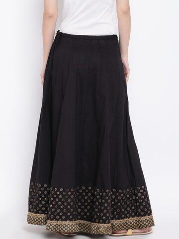 Biba Black Printed Detail Maxi Flared Skirt Biba Skirts at myntra