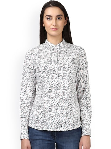 Park Avenue Women White Regular Fit Printed Casual Shirt Park Avenue Shirts at myntra