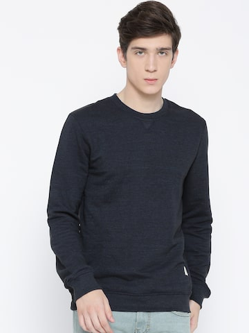 United Colors of Benetton Men Navy Blue Solid Sweatshirt United Colors of Benetton Sweatshirts at myntra