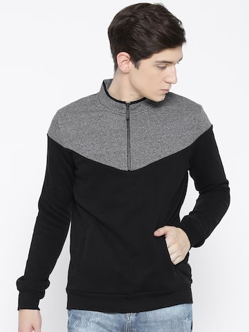 United Colors of Benetton Men Black & Grey Colourblocked Sweatshirt United Colors of Benetton Sweatshirts at myntra