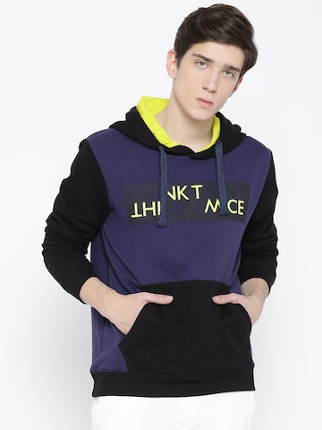 United Colors of Benetton Men Navy Blue & Black Printed Hooded Sweatshirt United Colors of Benetton Sweatshirts at myntra