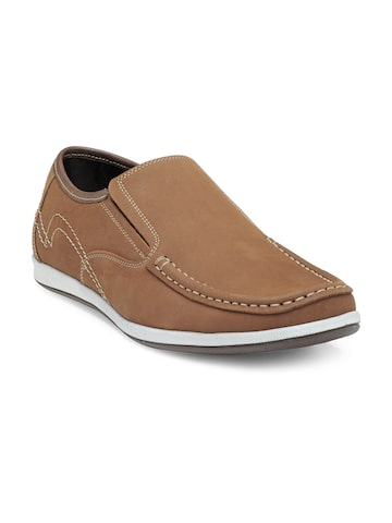 Franco Leone Men Tan Brown Leather Loafers Franco Leone Casual Shoes at myntra
