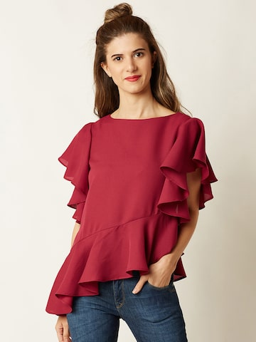 Miss Chase Women Magenta Solid Peplum Top Miss Chase Tops at myntra