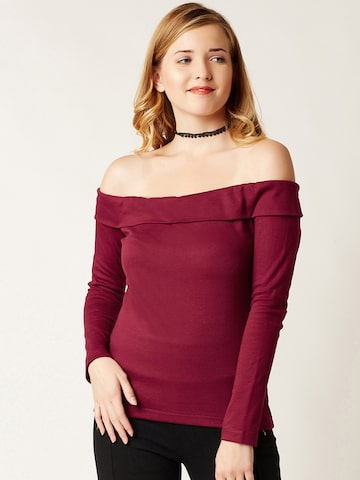 Miss Chase Women Maroon Solid Bardot Top Miss Chase Tops at myntra