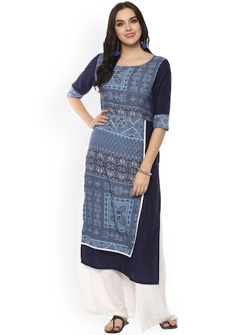 Pannkh Women Navy Printed Straight Kurta Pannkh Kurtas at myntra
