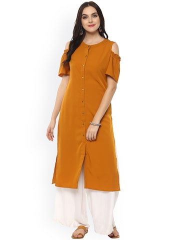 Pannkh Women Mustard Solid A-Line Cold Shoulder Kurta Pannkh Kurtas at myntra