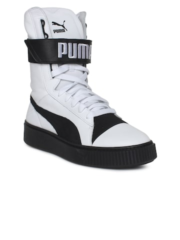 Puma Women White Printed Synthetic Platform Boot High-Top Sneakers Puma Casual Shoes at myntra