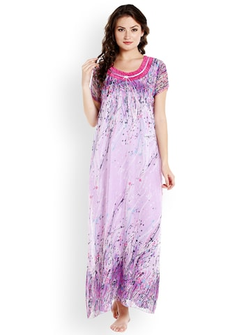 Sand Dune Lavender Printed Nightdress 5492 Sand Dune Nightdress at myntra