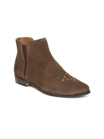 Carlton London Women Brown Suede Mid-Top Flat Boots Carlton London Casual Shoes at myntra
