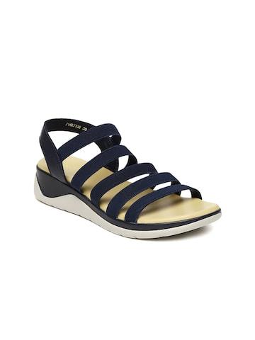 Tresmode Women Navy Blue Solid Sandals Tresmode Heels at myntra