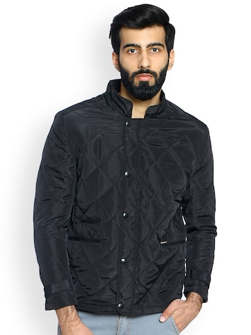 Duke Men Black Solid Quilted Jacket Duke Jackets at myntra