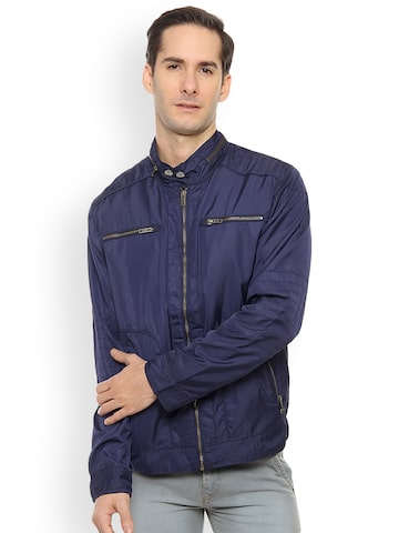 Duke Men Navy Blue Solid Bomber Duke Jackets at myntra