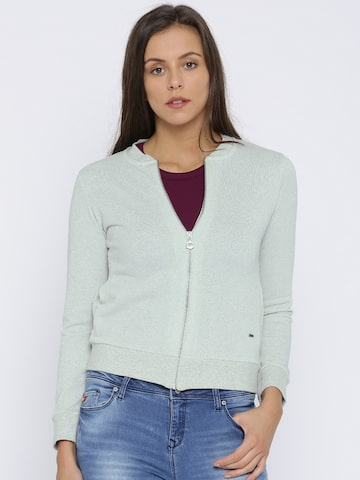 Lee Cooper Women Silver-Toned Self Design Tailored Jacket Lee Cooper Jackets at myntra