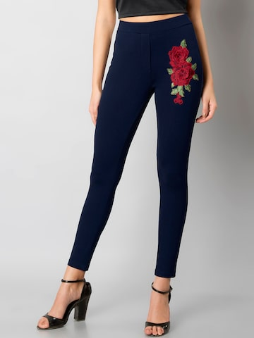 FabAlley Women Blue Floral Woven Treggings FabAlley Jeggings at myntra