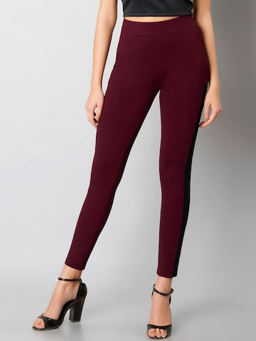 FabAlley Women Maroon Woven Treggings FabAlley Jeggings at myntra