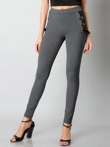 FabAlley Women Grey Woven Treggings FabAlley Jeggings at myntra