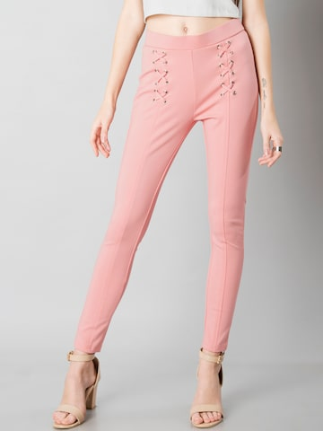 FabAlley Women Pink Woven Treggings FabAlley Jeggings at myntra
