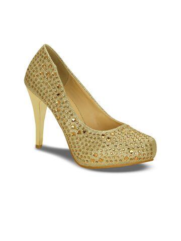 Kielz Women Gold-Toned Solid Embellished Pumps Kielz Heels at myntra