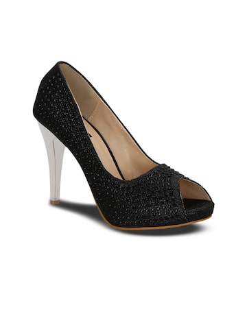 Kielz Women Black Solid Embellished Peep Toes Kielz Heels at myntra