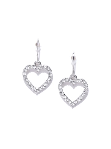 Accessorize Silver-Toned Heart-Shaped Drop Earrings Accessorize Earrings at myntra