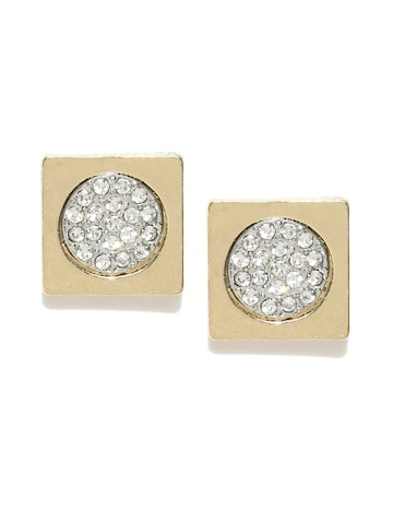 DressBerry Gold-Toned Stone-Studded Geometric Studs DressBerry Earrings at myntra