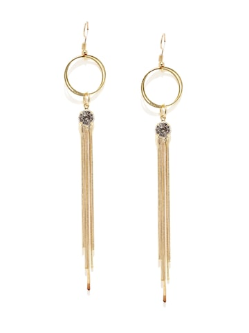 DressBerry Gold-Toned Tasselled Drop Earrings DressBerry Earrings at myntra