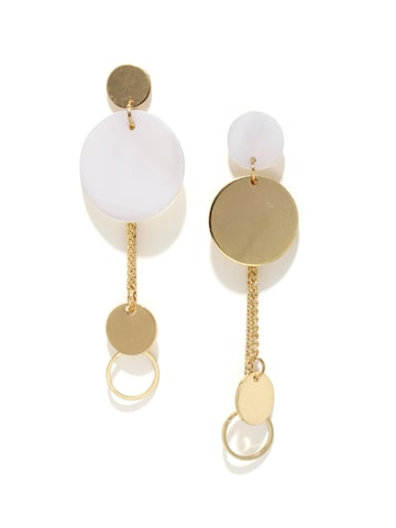 DressBerry Gold-Toned & White Geometric Drop Earrings DressBerry Earrings at myntra