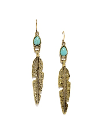DressBerry Antique Gold-Toned & Turquoise Blue Leaf Shaped Drop Earrings DressBerry Earrings at myntra