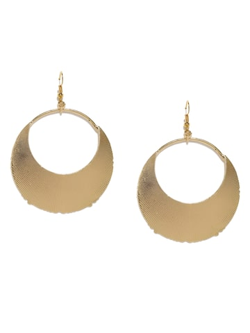 DressBerry Gold-Toned Textured Circular Drop Earrings DressBerry Earrings at myntra