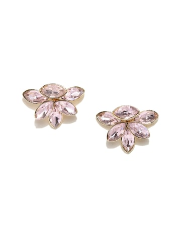 DressBerry Pink Floral Stud Jacket Earrings DressBerry Earrings at myntra