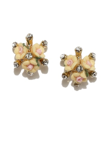 DressBerry Peach-Coloured & Gold-Toned Double-Sided Studs DressBerry Earrings at myntra