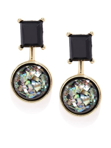 DressBerry Black & Gold-Toned Ear Jackets DressBerry Earrings at myntra