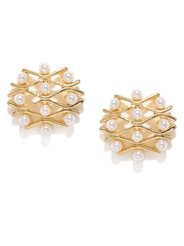 DressBerry Gold-Toned & White Quirky Oversized Studs DressBerry Earrings at myntra