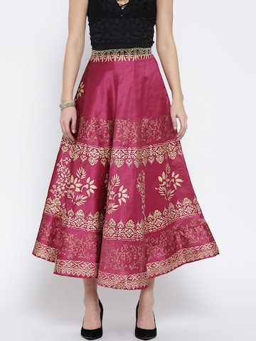 Ira Soleil Pink & Golden Printed Maxi Flared Skirt Ira Soleil Skirts at myntra