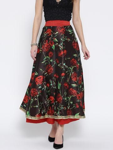 Ira Soleil Black & Red Floral Print A-Line Maxi Skirt Ira Soleil Skirts at myntra
